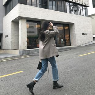 MSstudio 2021韩版秋季新款休闲宽松复古羊毛呢西装外套中长款女