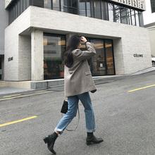 MSstudio 2021韩版春季新款休闲宽松复古羊毛呢西装外套中长款女