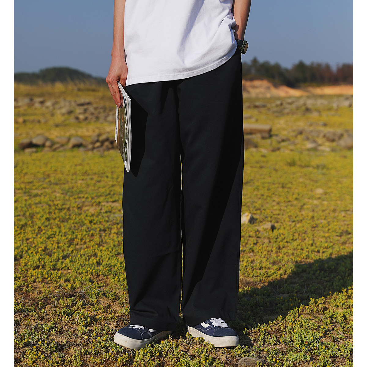 KOUEMGI空味 日系自带腰带小设计飘带直筒垂感西裤男宽松休闲裤