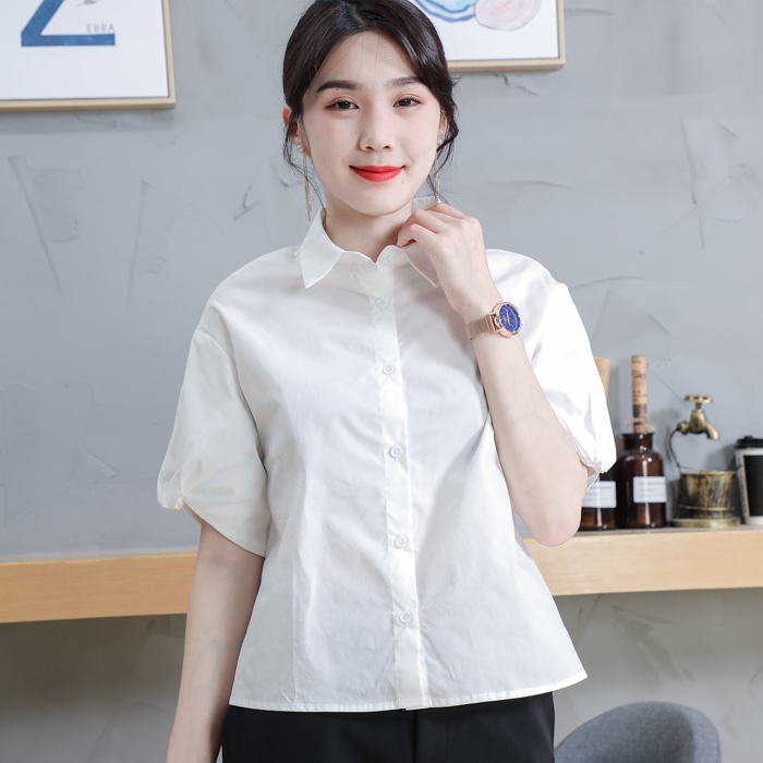 Homemade womens loose short pure cotton off shoulder bubble sleeve white shirt spring / summer 2020 new minority top