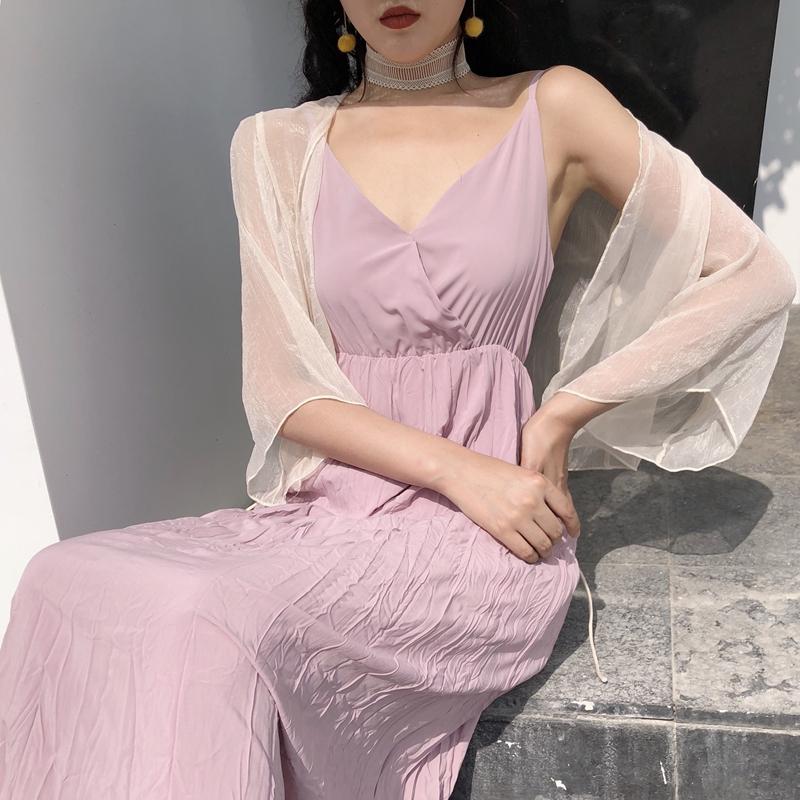 6325#实拍实价chic风系带防晒衣开衫外套+纯色中长款吊带裙两件套