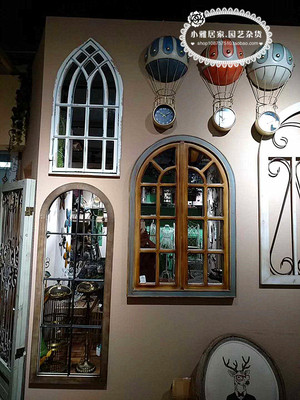 美式乡村复古做旧假窗做旧镜子壁挂窗户镜墙饰玄关店铺橱窗装饰