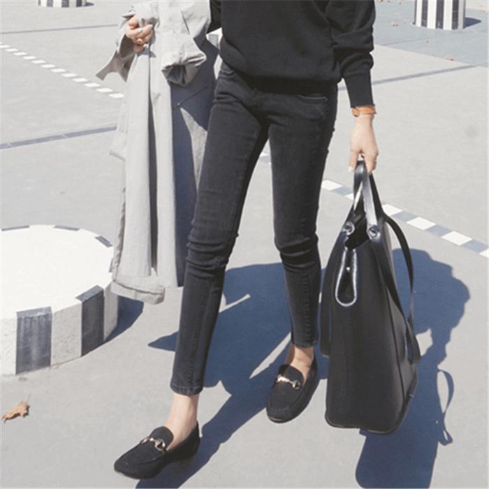 韩国秋季烟灰色牛仔裤女九分黑色中高腰弹力显瘦小脚大码铅笔长裤