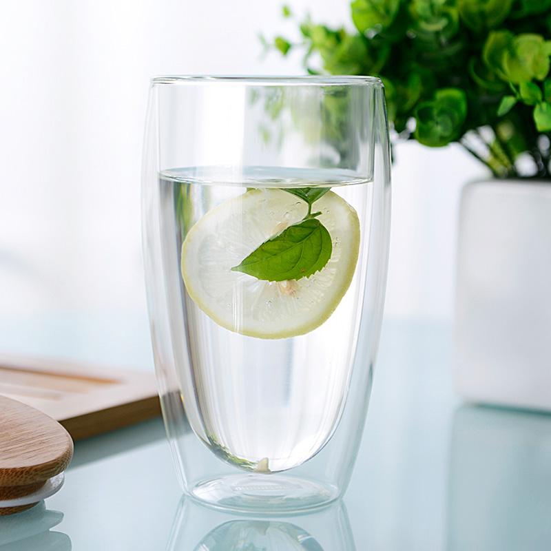 耐熱雙層玻璃杯辦公室茶杯水杯花茶杯檸檬牛奶杯子帶蓋男女士家用