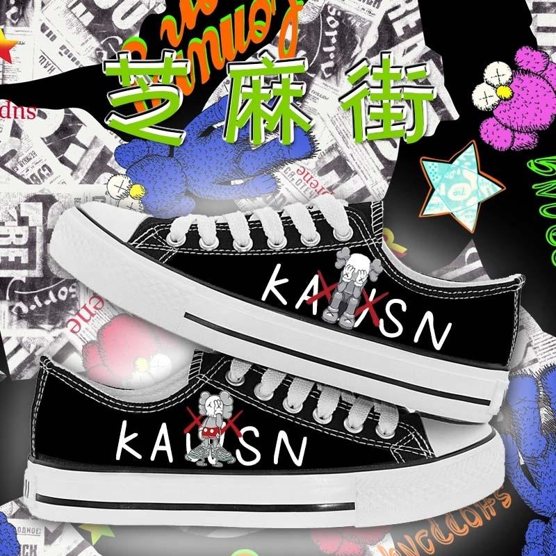 芝麻街系列潮卡通印花涂鸦周边男女情侣学生春夏新款低帮帆布鞋