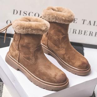 冬季雪地靴女短筒2020新款羊毛加厚保暖棉靴加绒平底复古马丁短靴图片