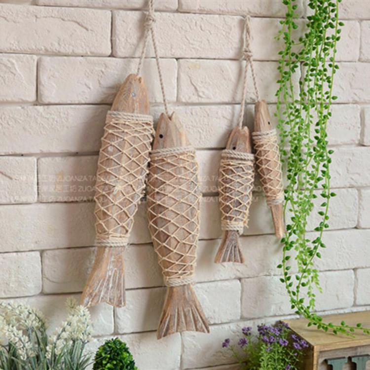 仿真鱼串实木摆件