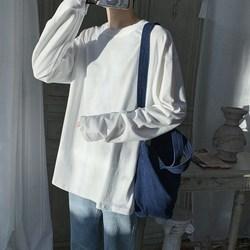 旋律风车长袖t恤男潮ins秋季薄款上衣宽松白色纯棉体恤潮牌打底衫