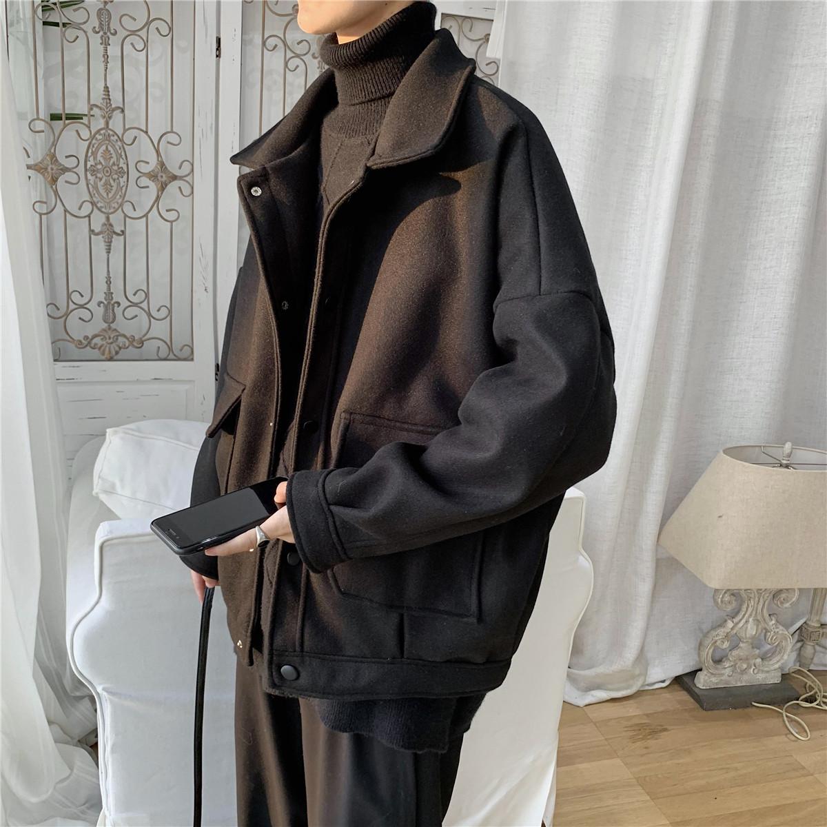 旋律风车自制翻领夹克男春季新款工装外套韩版宽松休闲加厚上衣潮