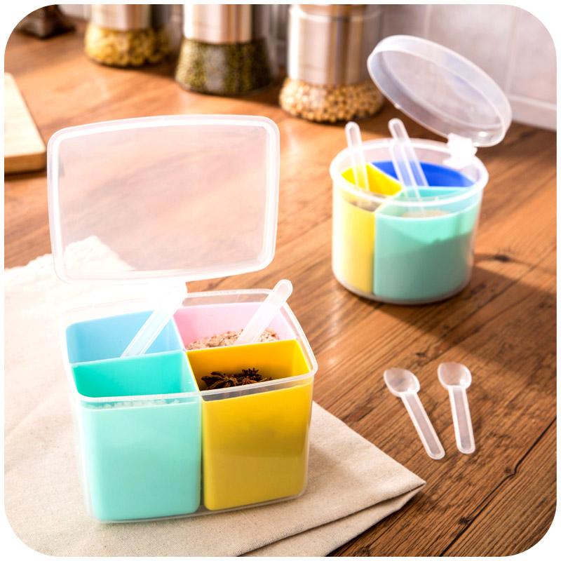 手慢无厨房翻盖塑料多格分类套装配调味盒