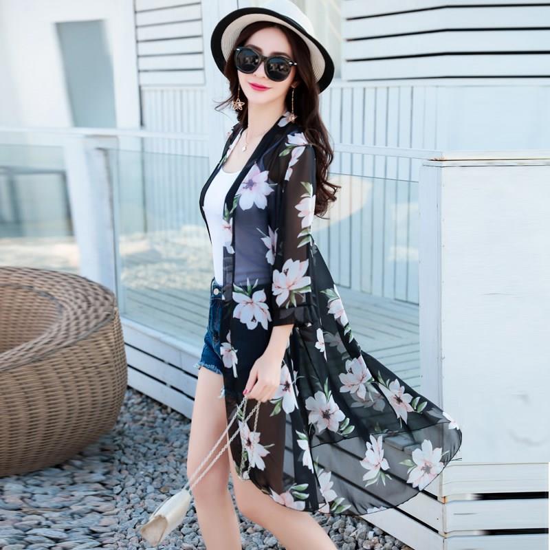 夏季雪纺超薄衣女中长款外搭外套纱衣沙滩百搭披肩防晒宽松开衫