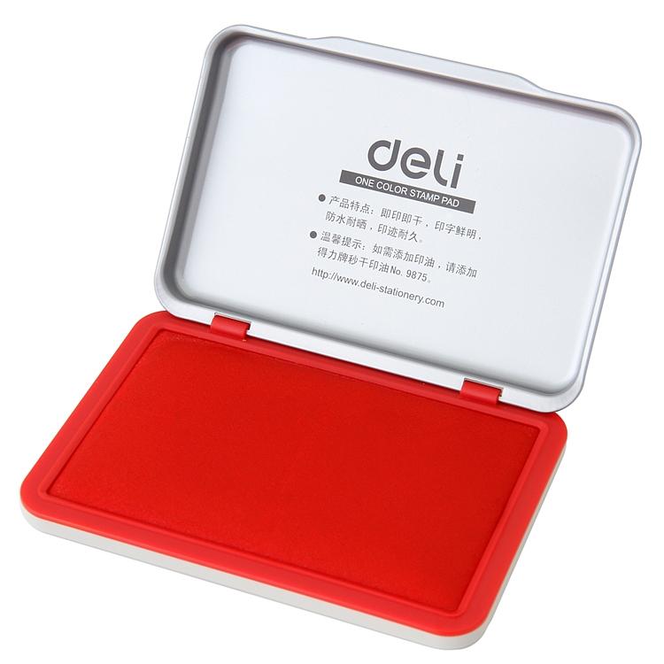 得力9892 秒干印台 印泥 金属外壳 2秒速干 财务专用红色办公用品