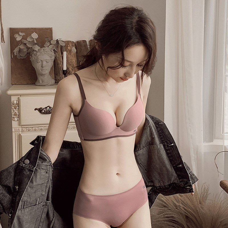 Victoria small chest gathered seamless underwear womens Sexy Secret smooth no steel ring comfortable bra suit