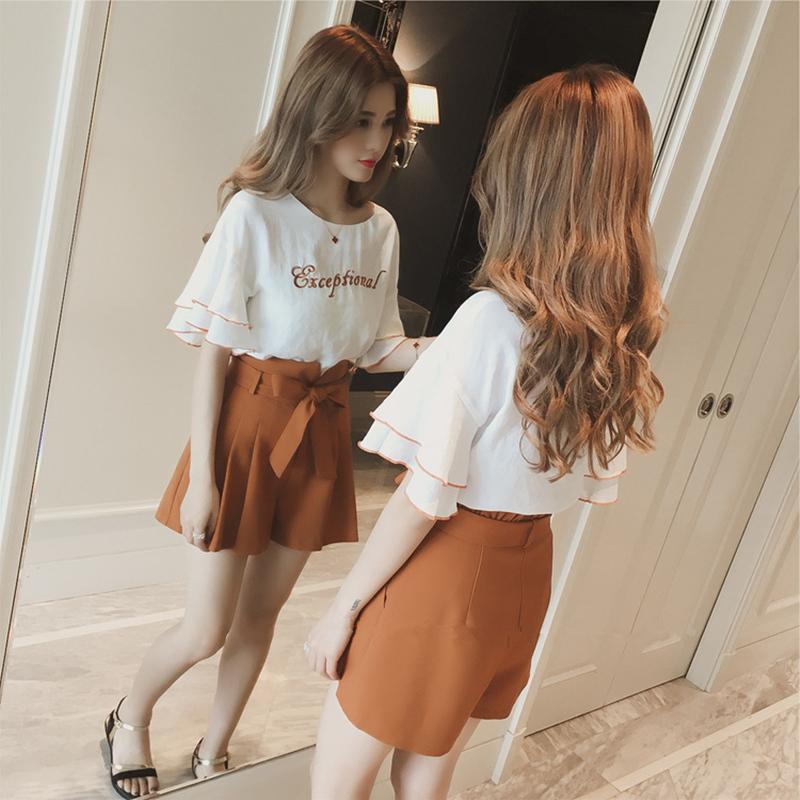 2017夏季新款韩版荷叶袖t恤套装女系带蝴蝶结短裤休闲时尚两件套