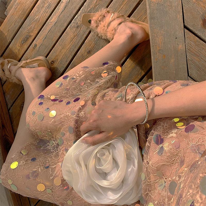 Ye Zixin Mermaid Ji Xiaozhong soft Sequin lace suspender dress with gift