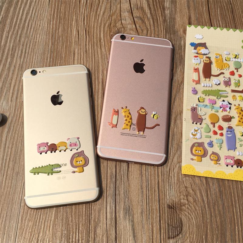 苹果6手机壳diy贴纸卡通立体3D图案安卓苹果xipad保护套可爱装饰