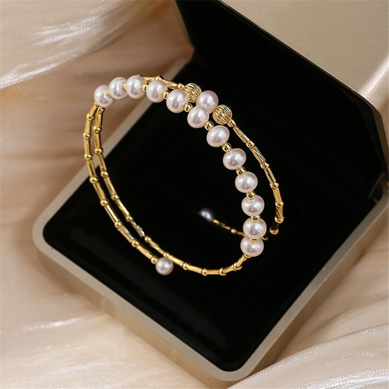 天然淡水珍珠手镯巴洛克弹力小众设计手工镀真金多层开口手链手串