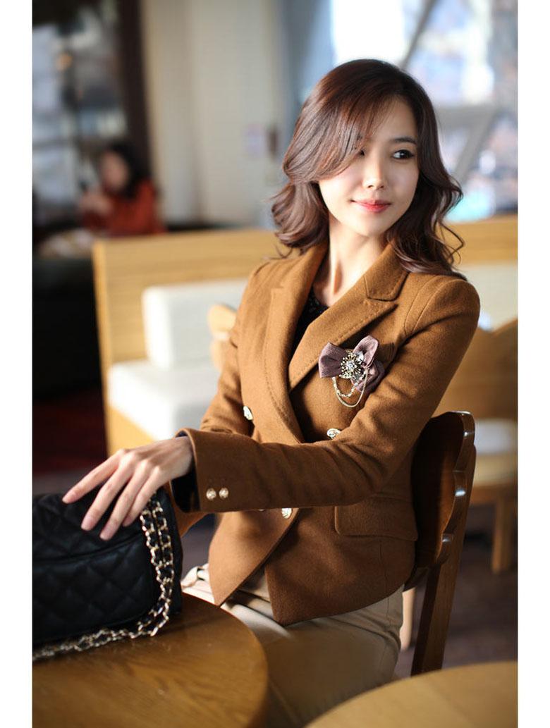 2014秋冬新品修身毛呢外套韩版女装妮子短外套女式小西装西服
