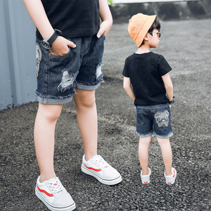 男童短裤夏季薄款外穿宽松中大童装五分裤破洞儿童牛仔裤子韩版潮