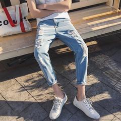 男夏季大破洞修身小脚潮流九分牛仔裤 B238-330-P50(不低于68)