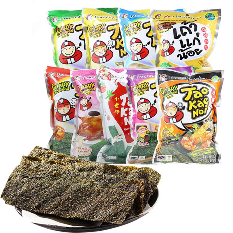 泰国进口休闲零食品脆紫菜炸海苔片香辣味即食紫菜32g