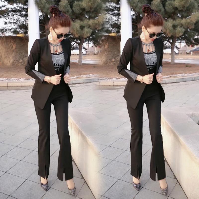 【网红爆款西服套装女】2020春季新款韩版洋气外套+喇叭裤两件套