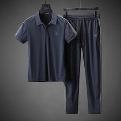 先森名品 夏季抗皱高弹力短袖运动套装男士薄款商务休闲翻领套装