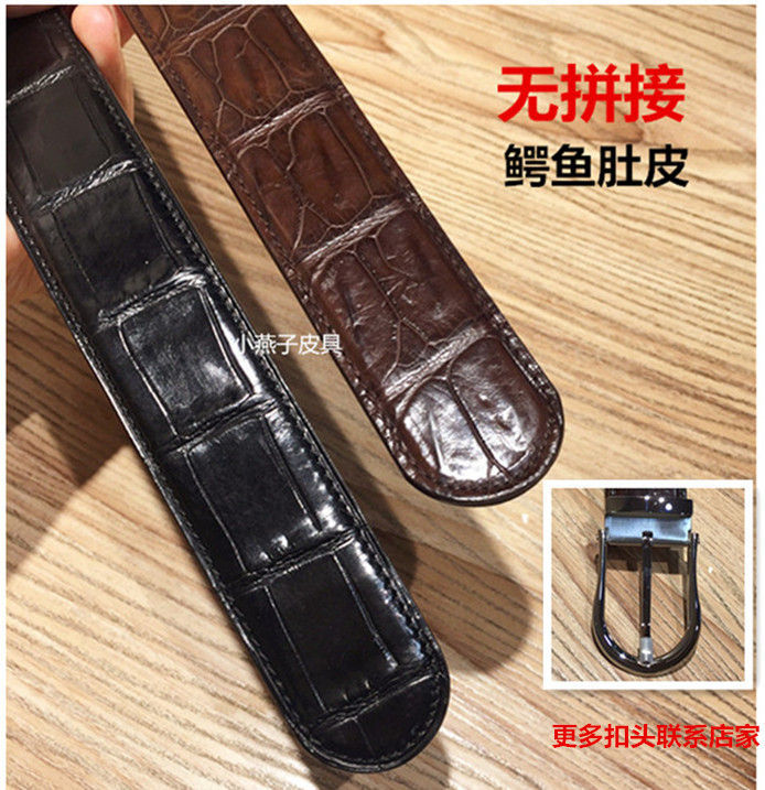Famous star imported Nile crocodile belly 3.5 wide round pin buckle smooth oil edge mens leather belt 2