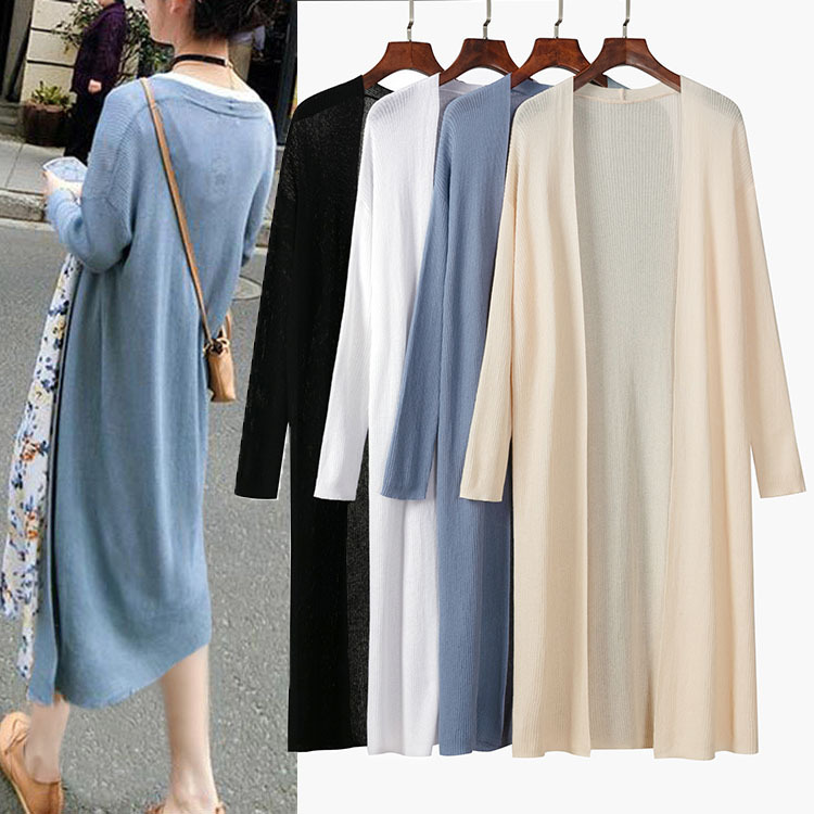 Small daisy knitwear cardigan ice silk woman wear medium length loose large size sunscreen air conditioning thin style