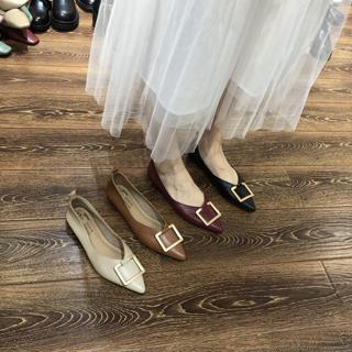 2020春搭扣一脚蹬套脚粗跟上班鞋日常休闲低跟软底浅口尖头单鞋女