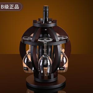 红酒架摆件家用客厅现代实木倒挂旋转灯笼复古酒瓶酒杯架欧式创意