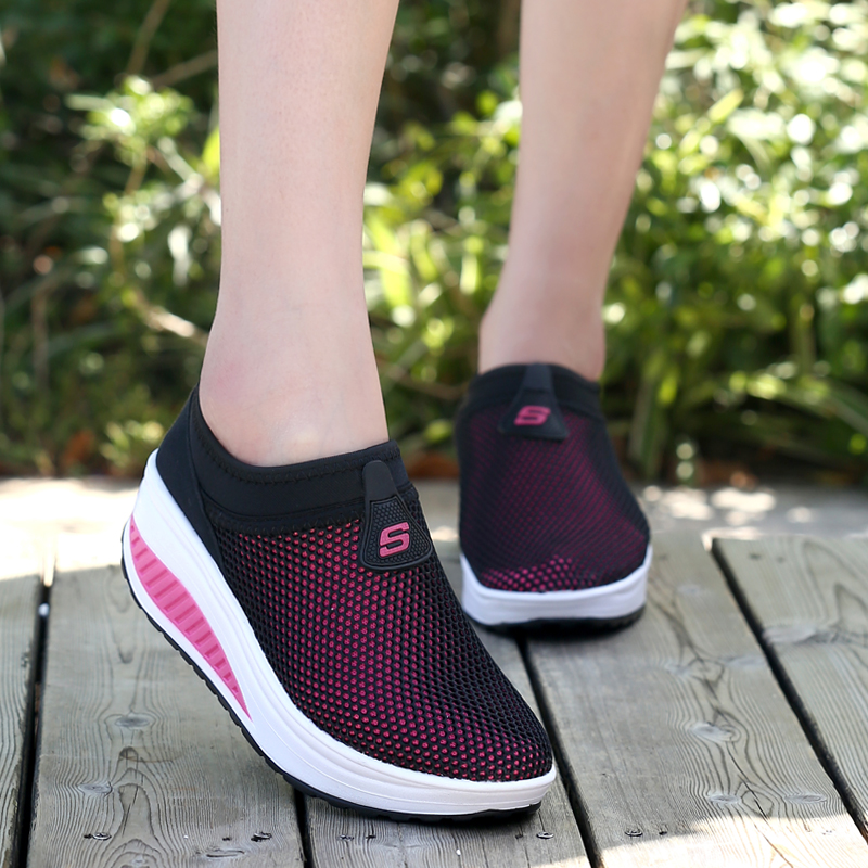 Spring, summer and autumn, 2018 new mesh breathable sports leisure Womens rocking shoes fitness shoes, muffin walking shoes authentic