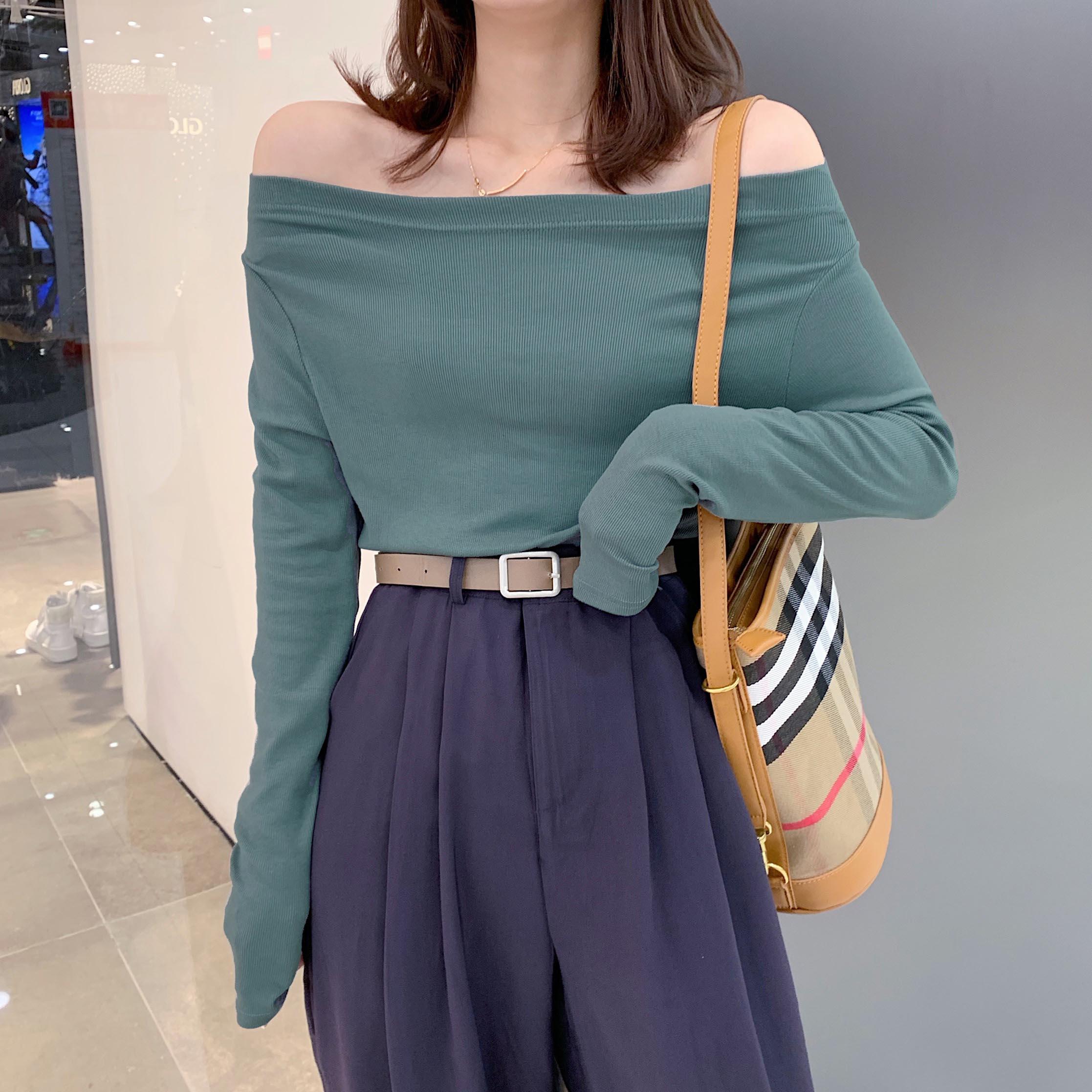 One neck long sleeve T-shirt for women 2021 new modal off the shoulder comfortable high elastic Korean version bottomed one shoulder top