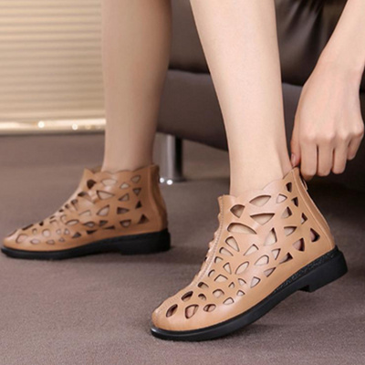 Female summer slip on sandals with holes female mothers high waist large size perforated mesh leather cool boots top layer leather leather
