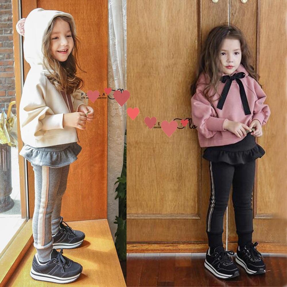 2018新款儿童冬款时尚洋气套装潮女童时髦网红加绒加厚假两件裙裤