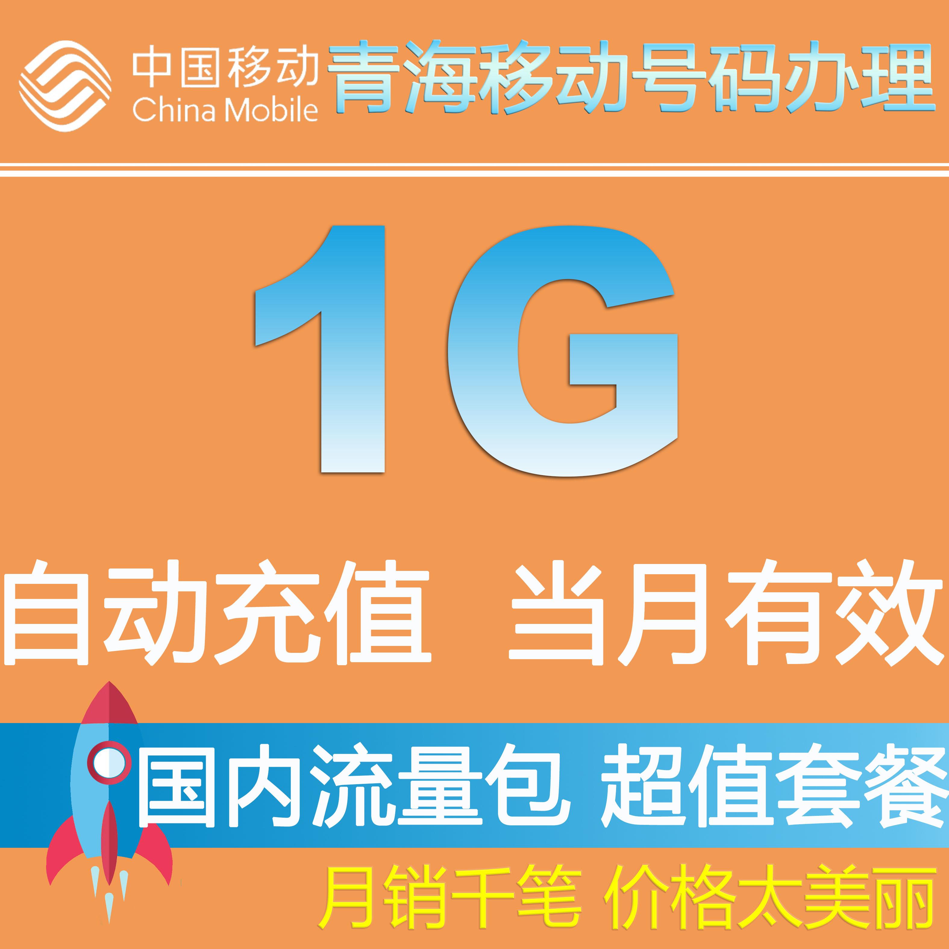 青海移动流量充值 全国1G流量叠加包2G3G4G 网络通用  当月有效QZ