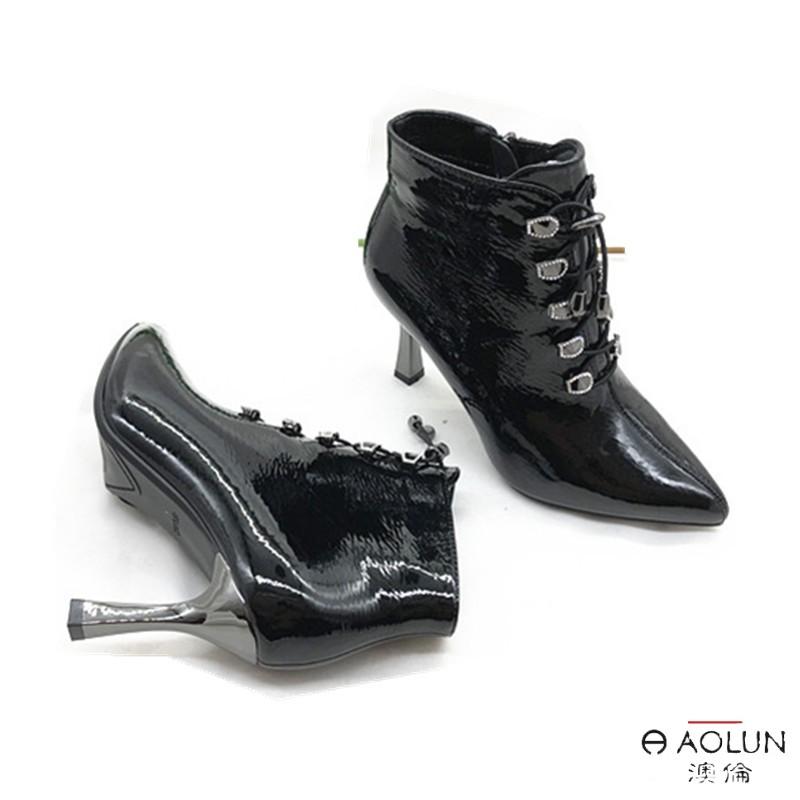 包邮澳伦皮鞋2020年冬季新款漆皮女二棉靴中帮马丁靴皮靴子欧美版图片