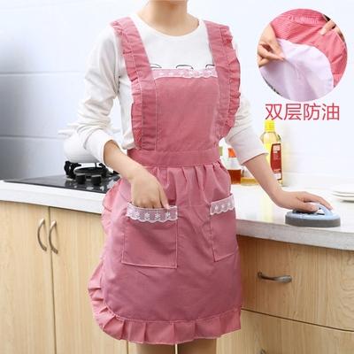 韩版时尚围裙防水厨房防油围腰公主可爱女做饭成人罩衣长袖