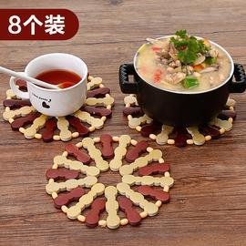10个装竹制菜垫子隔热垫餐桌垫杯垫碗垫防烫锅垫盘子竹垫家用餐垫图片
