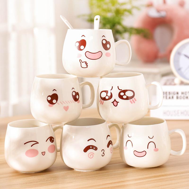 带盖带勺陶瓷杯创意杯子表情可爱水杯家用个性咖啡杯卡通杯马克杯