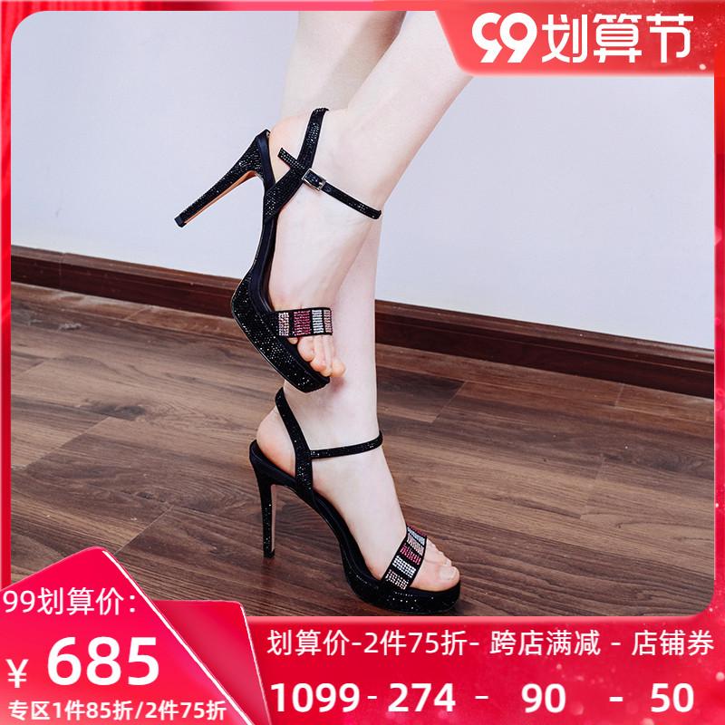 Roberta诺贝达女鞋新品细高跟夏季凉鞋子水钻防水台RM97243