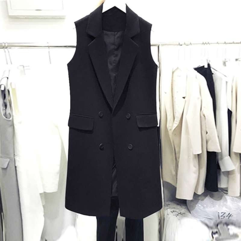 Black suit waistcoat womens 2020 spring and Autumn New Korean medium and long style with waistcoat and Vest Jacket