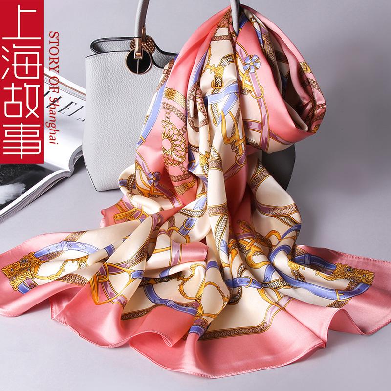 上海故事真丝丝巾女百搭春秋薄100%桑蚕丝小长条围巾妈妈款中年