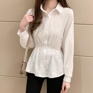 2020秋季新款韩版百搭收腰显瘦中款长袖白衬衫女POLO领打底衫上衣