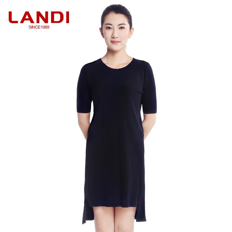 LANDI蓝地女装2017夏季新款圆领修身不对称下摆针织连衣裙LRXZ252