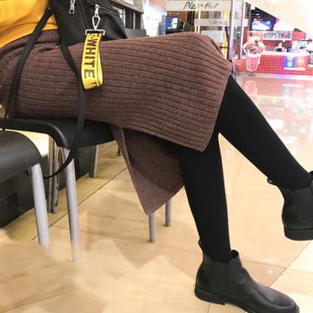 2018新款高腰针织一步裙秋冬中长款包臀开叉半身裙针织打底长裙子