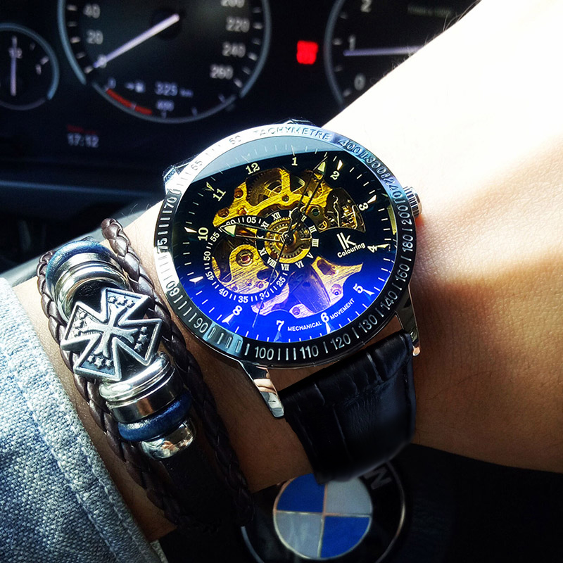 IK Apache watch mens mechanical watch fully automatic hollow trend casual waterproof luminous leather student Watch