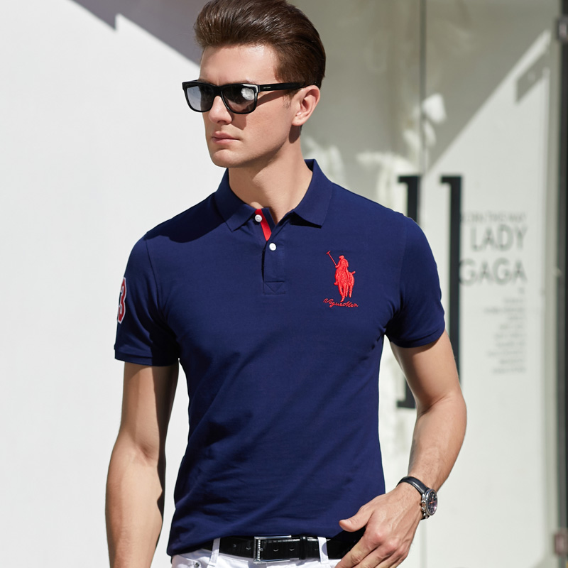 Summer casual Lapel business polo shirt mens short sleeve T-shirt cotton embroidered polo sports Polo Shirt Top
