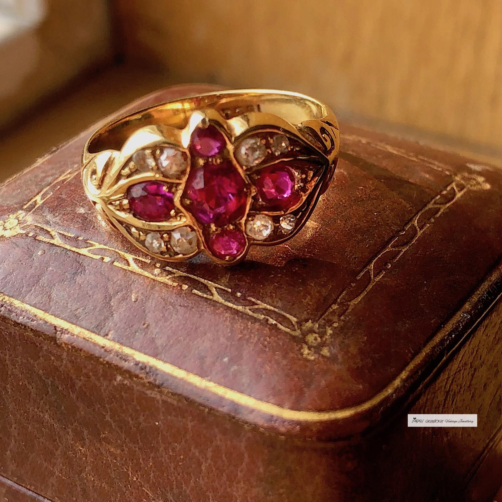14THUNION 英国古董天然缅甸老矿红宝石娇艳深桃红色黄金钻石戒指