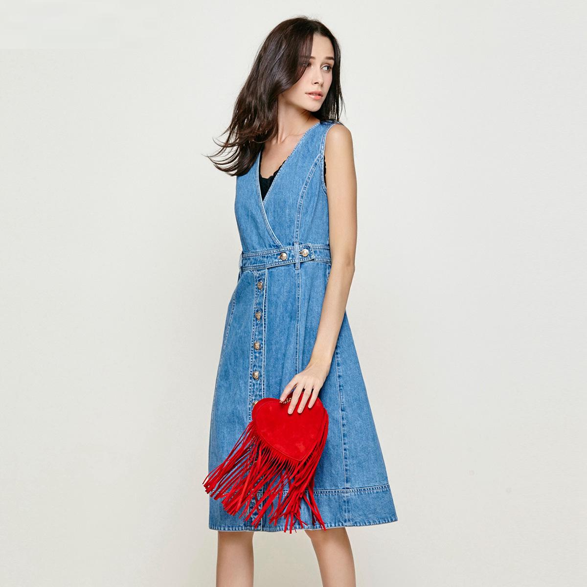 Five Plus新女夏装纯棉单排扣V领无袖牛仔连衣裙背心裙2JM2082240